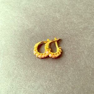 Gold plated 18k coral ear stud earrings